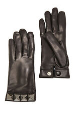 VALENTINO 675$ Authentic New Black Leather Cashmere Rockstud Studs Gloves