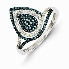 Sterling Silver Rhodium Plated Blue and White Diamond Ring