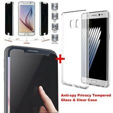 Privacy Anti-Spy Tempered Glass Screen Protector +Case for Samsung Note 7/S7/S6+