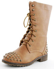 STUDDED MILITARY INSPIRED Lace Up Mid Calf COMBAT BOOTS TAN
