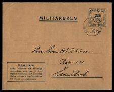 Sweden military stationery cover 1941 militarbrev cover to Svanobruk