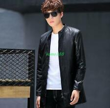Mens Korean Style slim fit faux leather long jacket collar casual moto overcoat