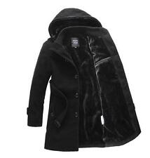 Mens Trench Coat Warm Fleece Lining Hooded Casual Jacket Peacoat Parka outwear