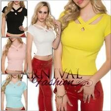 NEW SEXY LADIES CASUAL RIBBED CROP TOPS XS S M L buy WOMEN'S SHIRTS 6 8 10 12 sz