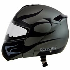 Hawk BLAZE 6625 Matte Black Grey Modular Dual Visor Full Face Motorcycle Helmet