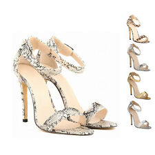 MT88 Snake Leopard Effect Stiletto Ankle Strap Womens High Heel Sandals Shoes