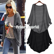 Womens Batwing Top Knit Cape Draped Open Front Cardigan Long Sleeve Sweater Coat