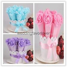 Wedding Xmas Favor Favour Rose Satin Ribbon Bow Candy Gift Box Bags Basket Set