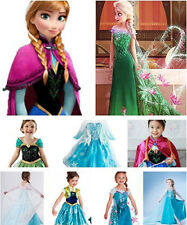 New! Girls Disney Elsa Frozen Dress Costume Princess Anna Party Dresses Cosplay