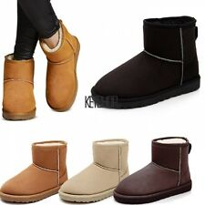 Women Winter Faux Fur Suede Snow Ankle Boots Warm Flat Heel Shoes Bootie KECP