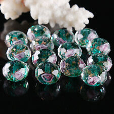 Deep Green Faceted Floral Flower Murano Lampwork Crystal Glass Spacer Bead Loose