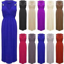 NEW LADIES JERSEY SPRING COIL STRETCH LONG WOMENS MAXI DRESS TOP SIZE 8,10,12,14