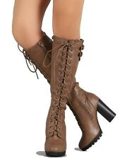 Wild Diva Knee high Taupe Lace up Boots Lug Sole Chunky Heel Women's shoes