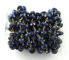1 FEET Lapis Lazuli Rondelles 24k Gold Plated Wire Wrapped Beaded Chain 7mm