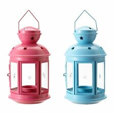 Pink Or Blue Stars Cutout Indoor Outdoor Hang Candle Lanterns