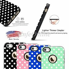 Hard TPU Soft Rubber White Polka-dot Shockproof Case Cover For Apple iPhone 5 5S