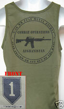 1ST INFANTRY DIVISION / 1ST ID/od green TANK TOP T-SHIRT/AFGHANISTAN COMBAT OPS