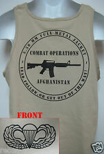 AIRBORNE tank top T-SHIRT/ tan color/ AFGHANISTAN COMBAT OPS  / MILITARY/   NEW