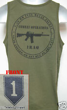 1ST INFANTRY DIVISION / 1ST ID/od green TANK TOP T-SHIRT/IRAQ COMBAT OPS/  NEW