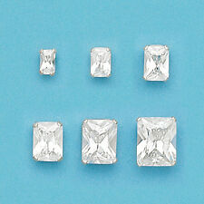 925 Sterling Silver Rectangular Cubic Stud Earrings-Rectangular Stud Earrings