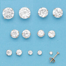 14K Gold Filled CZ Stud Earrings-Gold Earrings-Cubic Stone-2 3 4 5 6 7 8mm-Round