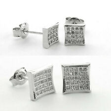 925 Sterling Silver Micro Pave KITE Stud Earrings-Square Stud-Cubic(5.5 mm/8 mm)