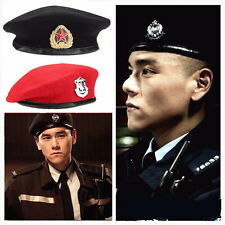 New Vintage Military Soldier Army Hat Unisex Men Women Wool Beret Cap With Badge