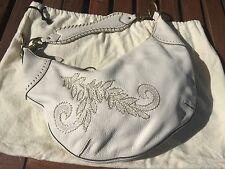Cole Haan small zip hobo 'Village' embroidered white leather purse