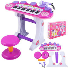 NEW!! Girls Electronic Piano Musical Keyboard Organ Microphone Synthesizer Stool