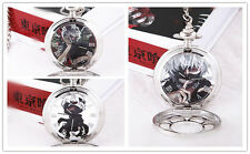 Tokyo Ghoul Pocket Watch Hollow Carved Necklace Kaneki Ken Anime Gift Silver New