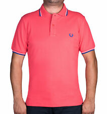 Men's Slim-Fit Twin Tripped Tropical Red(Coral) Pique Polo Shirt FRED PERRY
