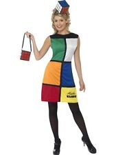 Ladies 80s Retro Rubiks Cube Dress, Hat & Bag Adult Fancy Dress Costume Outfit