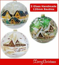 3 x Glass Christmas Bauble 120mm Handmade & Painted Balls Baubles Ball Tree