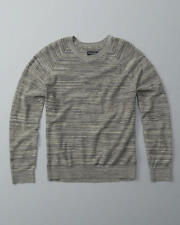NWT ABERCROMBIE & FITCH MEN'S MUSCLE FIT GREY TEXTURAL CREWNECK SWEATER M,L