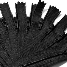 Lots of 9Inch Nylon Coil Invisible Sewing Zipper Tailor Sewer Craft Black MA