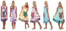Ladies Womens Summer Butterfly Loose Fit Sleeveless Top Tie Dye Maternity Dress