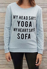 "Ex TU ""My Head Says Yoga Sweatshirt"" Slogan Ladies Sweatshirt"
