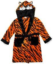 Boys TIGER Animal Face Hooded Fleece Dressing Gown Bathrobe 2 to 13 Years