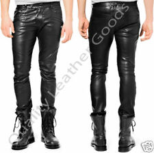 MENS LEATHER JEANS  THIGH FIT OUTRAGEOUSLY LUXURY PANTS TROUSERS  M/32 4CS