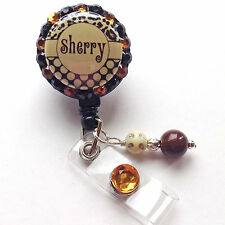 PERSONALIZED LEOPARD POLKA BLING RETRACTABLE ID BADGE HOLDER LANYARD