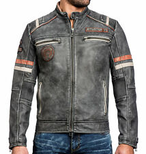 Affliction - BUSTED PISTON - Men's Leather Biker Jacket MOTO Vintage Wash Black