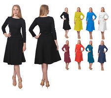 WOMENS CLASSIC CLASSY BUSINESS CHURCH WORK VINTAGE ALINE MIDI SKIRT SUIT DRESS