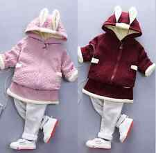 Kids Girls Fall Winter Flannel Clothes set Toddler Infant T-shirt Rabbit+Pants