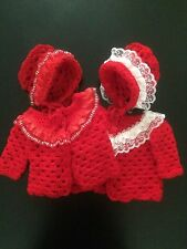 Handmade Crochet Baby Matinee Coat Bonnet Set Red Cream Satin Lace Girl 0-3