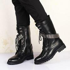 Mens winter zip up lace up military boots high top punk rivet chukka boots new