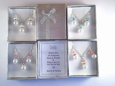 Pearl Necklace & Earring set, Bridal party, Bridesmaid Gift ,Coral Purple Aqua