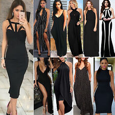N Sexy Women Sleeveless Cocktail Party Long Maxi Dress Formal Black Evening Gown