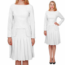 WHITE MARYCRAFTS WOMENS CHURCH OFFICE BUSINESS SKIRT SUITS SUIT W LONG SLEEVES