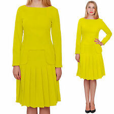 YELLOW MARYCRAFTS WOMENS CHURCH OFFICE BUSINESS SKIRT SUITS SUIT W LONG SLEEVES
