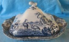 "ENGLISH FLOW  BLUE/WHITE  CHINA SQUARE COVERED TUREEN with   ""BIRDS"""